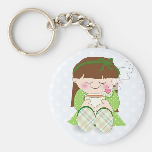 Relax! Cute Kawaii Girl Relaxing with Tea / Coffee Basic Round Button Keychain