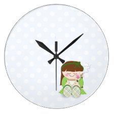 Relax! Cute Kawaii Girl Relaxing with Tea / Coffee Clocks