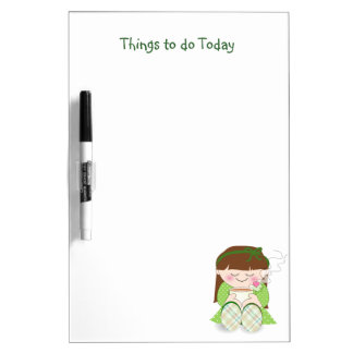 Relax! Cute Kawaii Girl Relaxing with Tea / Coffee Dry Erase Boards