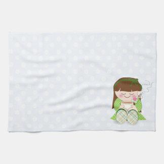 Relax! Cute Kawaii Girl Relaxing with Tea / Coffee Towel
