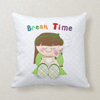 Relax! Cute Kawaii Girl Relaxing with Tea / Coffee Pillow
