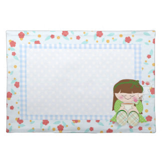Relax! Cute Kawaii Girl Relaxing with Tea / Coffee Placemat