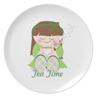 Relax Cute Kawaii Girl Relaxing with Tea Coffee Dinner Plates
