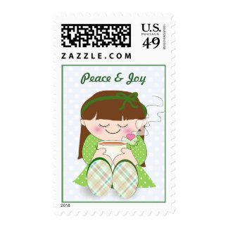 Relax! Cute Kawaii Girl Relaxing with Tea / Coffee Postage
