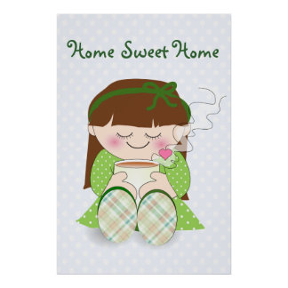 Relax! Cute Kawaii Girl Relaxing with Tea / Coffee Poster