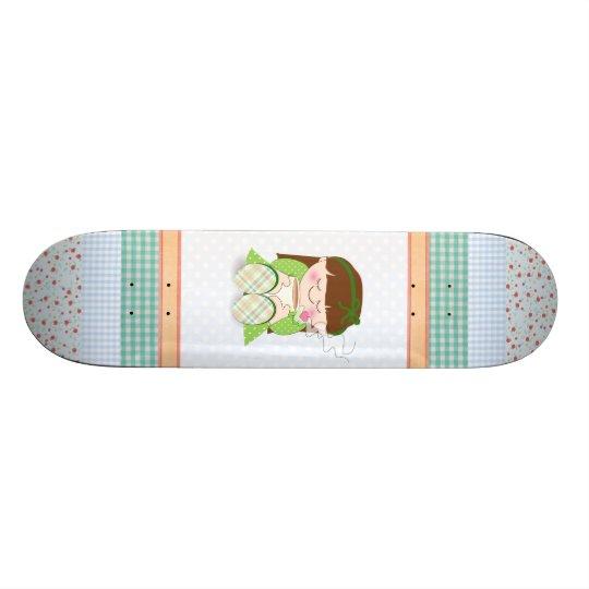 Relax! Cute Kawaii Girl Relaxing with Tea / Coffee Skateboard Deck