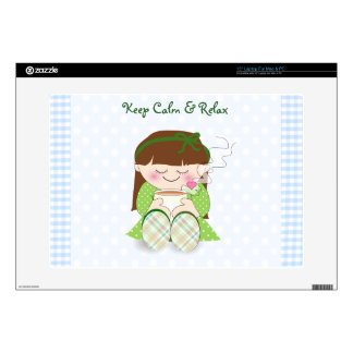 """Relax! Cute Kawaii Girl Relaxing with Tea / Coffee Decals For 15"""" Laptops"""