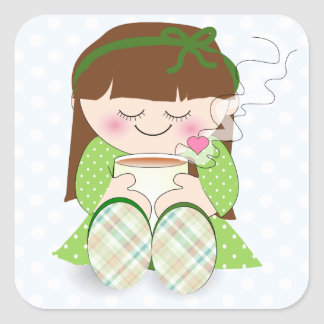 Relax! Cute Kawaii Girl Relaxing with Tea / Coffee Square Sticker