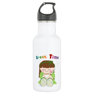 Relax! Cute Kawaii Girl Relaxing with Tea / Coffee Stainless Steel Water Bottle