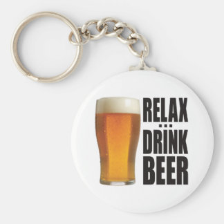 Relax Drink Beer Keychain