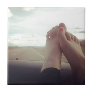 relax feet on the dashboard ceramic tile