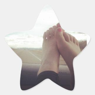 relax feet on the dashboard star sticker