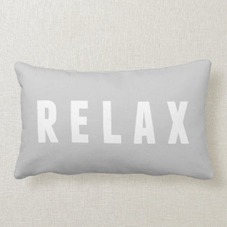 Relax Gray & White Modern Block Print Lumbar Pillow