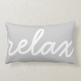 Relax Gray & White Script Throw Pillow