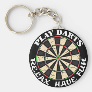 RELAX HAVE FUN PLAY DARTS KEYCHAIN