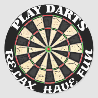 RELAX HAVE FUN PLAY DARTS CLASSIC ROUND STICKER