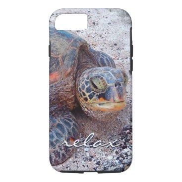 "Beach Themed ""Relax"" Hawaiian sea turtle photo cell phone case"