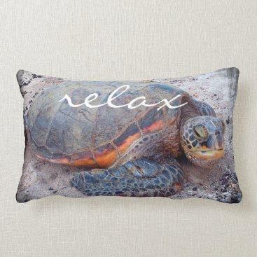 "Beach Themed ""Relax"" Hawaiian sea turtle photo lumbar pillow"