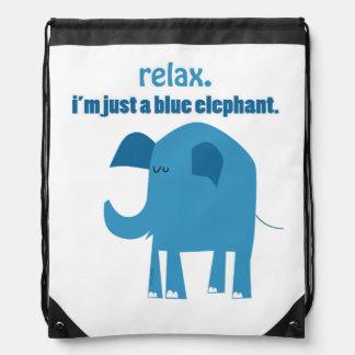 """Relax, I'm Just a Blue Elephant"" Bag Backpacks"