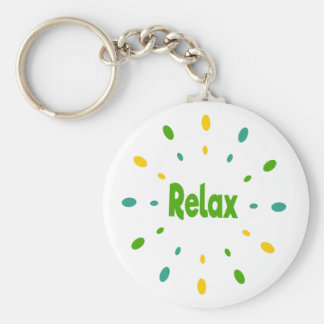 Relax in yellow, green and blue keychain