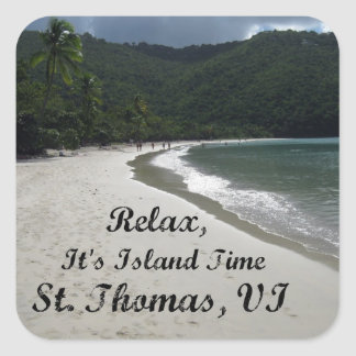 Relax, it's island time, St. Thomas VI Square Sticker