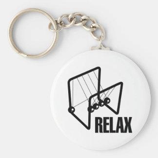 Relax Basic Round Button Keychain