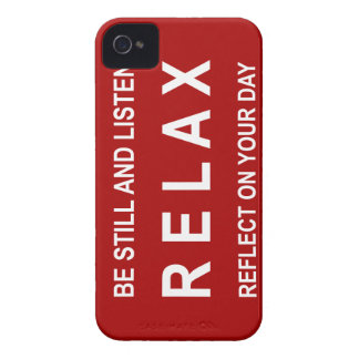 Relax Motivational Message Red & White Case-Mate iPhone 4 Case