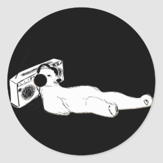 relax music polar bear round sticker