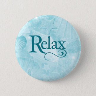 Relax on soothing seashells pinback button