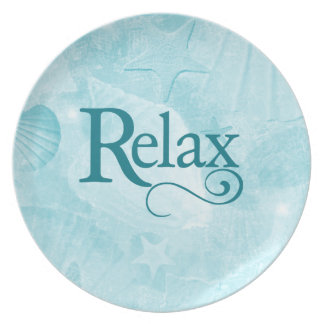 Relax on soothing seashells dinner plate