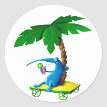 artsprojekt, summer drink, summer, drink, free time, lazy, palm tree, monster, beach, relax, sunny, sun, beach holidays, summer gift, summer present, children, kid, kids, illustration, children illustration, Sticker with custom graphic design