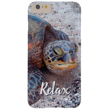 """Beach Themed """"Relax"""" Quote Fun Hawaii Sea Turtle Close-up Photo Barely There iPhone 6 Plus Case"""