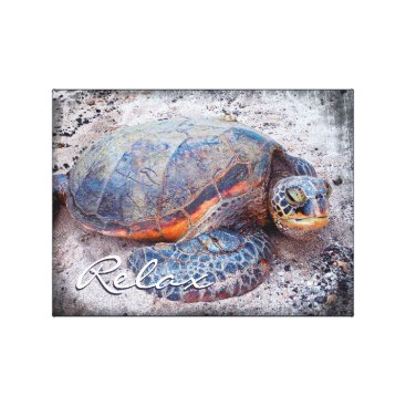 """Beach Themed """"Relax"""" Quote Fun Hawaii Sea Turtle Close-up Photo Canvas Print"""