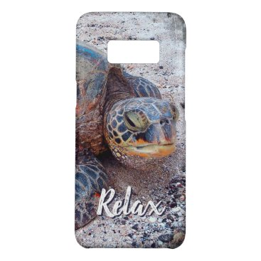 """Beach Themed """"Relax"""" Quote Fun Hawaii Sea Turtle Close-up Photo Case-Mate Samsung Galaxy S8 Case"""