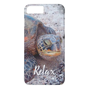 """Beach Themed """"Relax"""" Quote Fun Hawaii Sea Turtle Close-up Photo iPhone 8 Plus/7 Plus Case"""