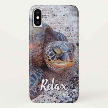 """Beach Themed """"Relax"""" Quote Fun Hawaii Sea Turtle Close-up Photo iPhone X Case"""