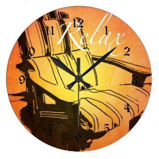 Relax Red Orange Adirondack Chair Summer Beach The Large Clock