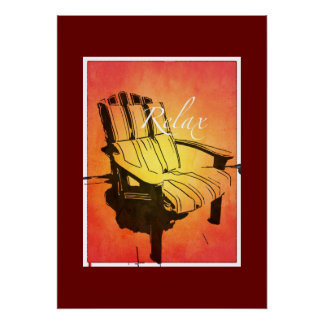 Relax Red Orange Adirondack Chair Summer Beach The Posters