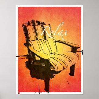 Relax Red Orange Adirondack Chair Summer Beach The Print