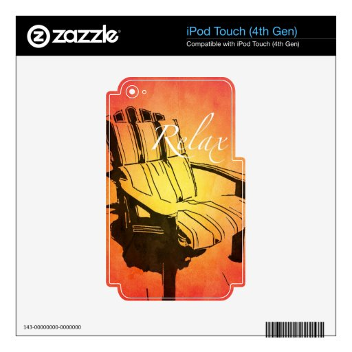 Relax Red Orange Adirondack Chair Summer Beach The Skin For iPod Touch 4G