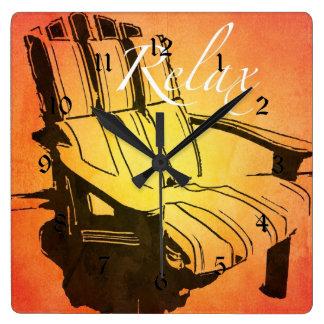 Relax Red Orange Adirondack Chair Summer Beach The Square Wall Clock