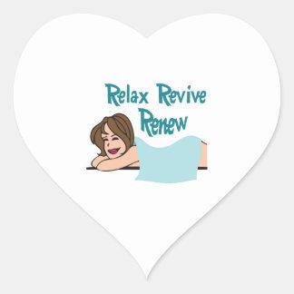 RELAX RENEW REVIVE HEART STICKER