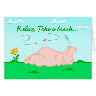 Relax, Take a Break Hippo Birthday Card