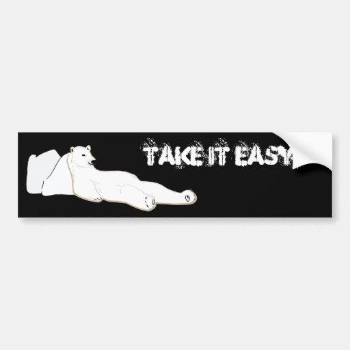 relax take it easy polar bear bumper sticker