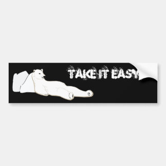 relax take it easy polar bear car bumper sticker