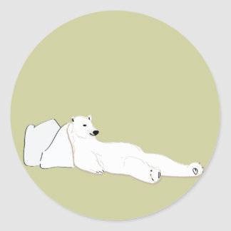 relax take it easy polar bear classic round sticker