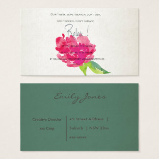 RELAX TO RECEIVE, TO VIBRATE BRIGHT PINK FLORAL BUSINESS CARD