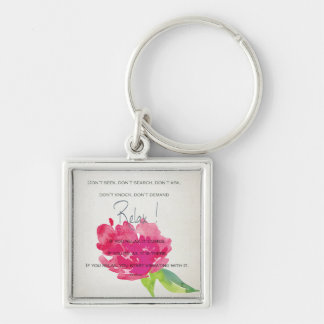RELAX TO RECEIVE, TO VIBRATE BRIGHT PINK FLORAL KEYCHAIN