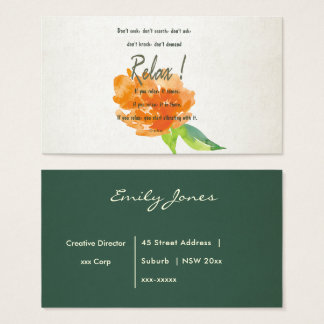 RELAX TO RECEIVE, TO VIBRATE ORANGE FLORAL BUSINESS CARD