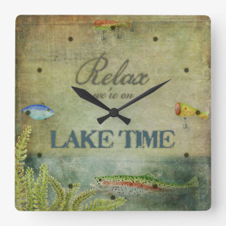 Relax we are on Lake Time, Mountain Cabin Decor Square Wall Clocks
